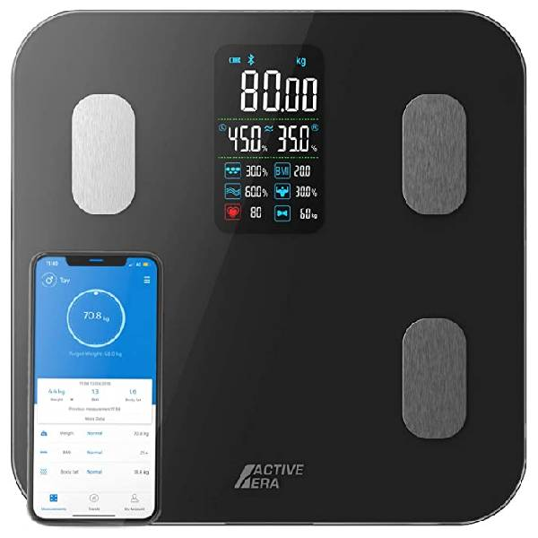 Active Era® Smart Bathroom Scales with Large LED Display - Bluetooth Digital Body Weight Scales with 16 Measurements, High Precision Body Weight, Body Mass Index (BMI), Free Smartphone App (Black)